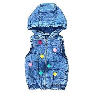 Colete Jeans Infantil Pompom Mon Sucre 4014