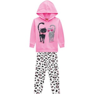 Conjunto Infantil Blusa c/ Capuz + Legging Moletom Gatinhos Kyly 207129