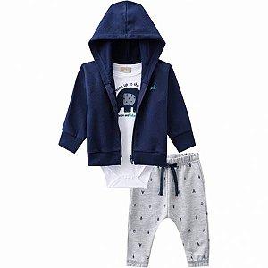 Conjunto Infantil Body Manga Curta + Casaco Com Touca + Calça  11423 COR