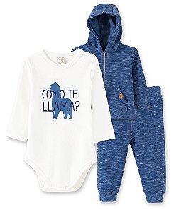 Conjunto Bebê Body Longo + Calça + Casaco Azul Pingo Lelê 66232