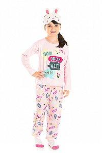 Pijama Infantil Blusa Manga Longa Rosa + Calça Serelepe 5459