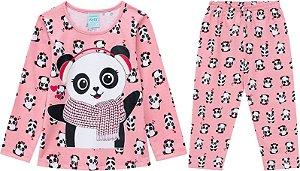 Pijama Longo Menina Panda Brilha no Escuro Kyly 206786