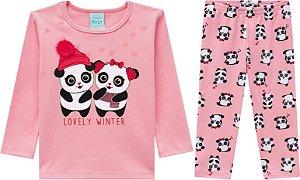 Pijama Longo Menina Panda Brilha no Escuro Kyly 206781