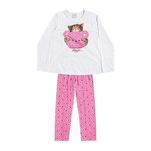 Pijama Longo Menina Brilha no Escuro Kyly 206489