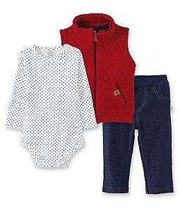 Conjunto Infantil Body Manga Longa, Colete e Calça Jeans Pingo Lelê - 66217