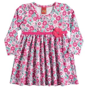 Vestido Infantil Manga Longa Rosa Floral Kyly 206311