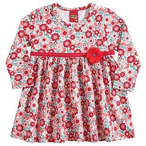 Vestido Infantil Manga Longa Vermelho Floral Kyly 206311