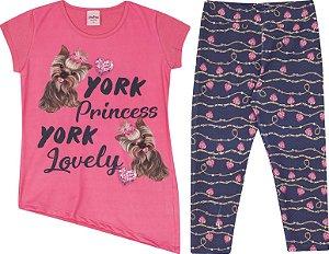 Conjunto Infantil Legging + Blusa Manga Curta Pink Serelepe  5592