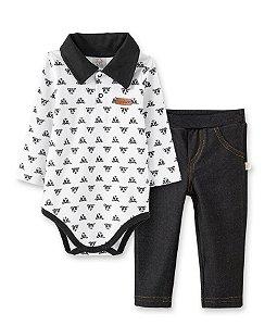 Conjunto Infantil Body Longo Gola Polo + Calça Cotton Jeans Pingo Lelê 66229