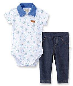 Conjunto Body  Gola Polo + Calça Cotton Jeans Pingo Lelê 66105