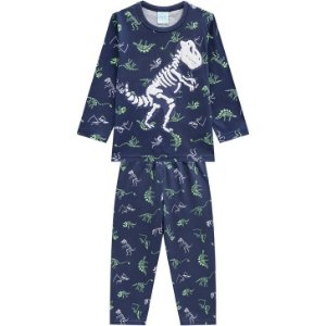 Pijama Longo Dino Esqueleto Azul Kyly 207253
