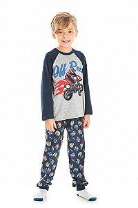 Pijama Infantil Manga Longa Cinza Serelepe 5460