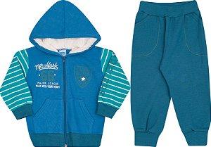 Conjunto Infantil Casaco com Ziper e Touca Azul  + Calça Moletom Serelepe 4858