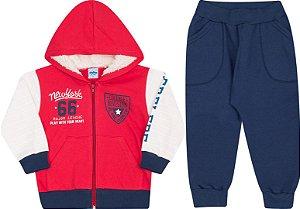 Conjunto Infantil Casaco com Ziper e Touca Vermelho  + Calça Moletom Serelepe 4858