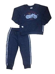 Conjunto Moletinho Infantil Blusa + Calça Moto Pega Mania 75145