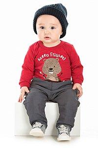 Blusa Bebê Manga Longa Vermelha Serelepe 5385