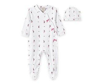 Macacão longo c/ Touca para bebê em suedine Flamingo 66529