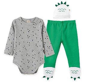 Body Longo c/ Calça e Touca para bebê em Suedine Dino 66578