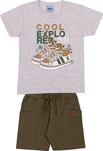 Conjunto Infantil Bermuda Moletinho e Camiseta Estampada - Serelepe 6243