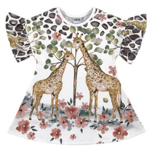 Vestido Infantil Nanai Malha Sublime Girafas Branco - 600441