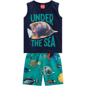 Conjunto Infantil  Fundo do Mar Short Tactel e Regata - Kyly 110274