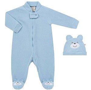 Macacão Longo + Touca para Bebe em Soft Ursinho Azul - Pingo Lelê 65920