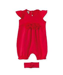Macacão Regata Vermelho c /Faixa para Bebê Pingo Lelê 66393