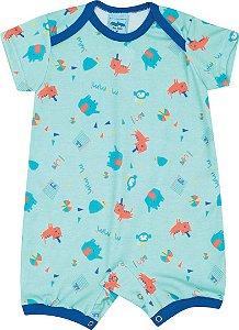 Macacão Curto Azul para Bebê - Serelepe 5133
