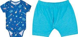 Pijama Body Manga Curta + Short -  Azul Claro 5134