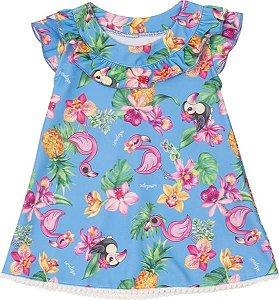 Vestido Flamingo para Bebê Azul Claro Serelepe  5521