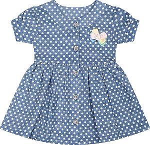 Vestido Poá para Bebe Serelepe - Azul 5020