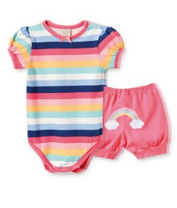 Conjunto para Bebê Body Curto + Short Arco Iris Pingo Lelê 66319