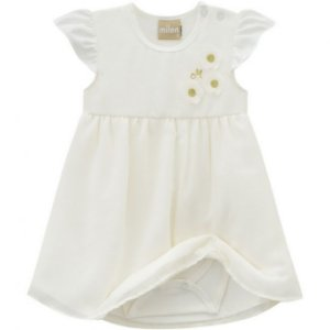Vestido Bebê Chifon Off White - Milon 11649
