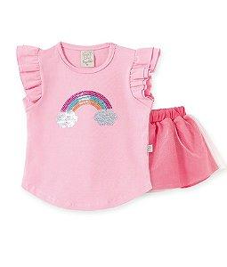 Conjunto Infantil Saia em Tule + Camiseta Arco Iris Pingo Lelê 66320