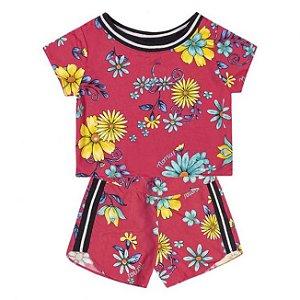 Conjunto Infantil Cropped + Short Tricoline Viscose Nanai Pink 600254