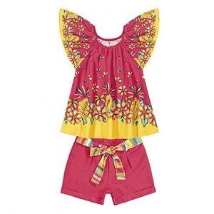 Conjunto Infantil Blusa +  Short Pink Nanai  600252