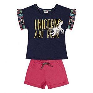 Conjunto Infantil Short Moletinho + Blusa Unicórnio Nanai 600240