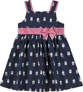 Vestido Infantil Curto Sorvetinho Azul Nanai 600013