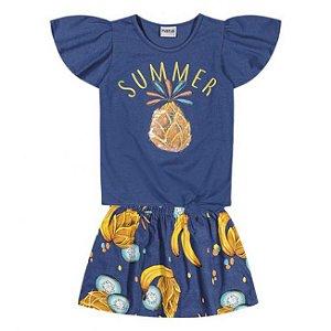 Conjunto Infantil Short Saia + Blusa Azul Nanai 600251