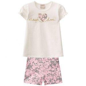 Conjunto Infantil Short + Blusa Off White Milon 11251