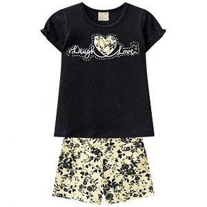 Conjunto Infantil Short + Blusa Preto Milon 11251
