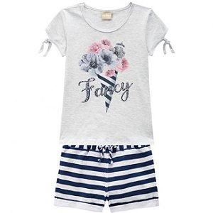 Conjunto Infantil Short Moletinho + Blusa Mescla Milon 11736