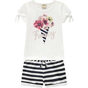 Conjunto Infantil Short Moletinho + Blusa Off White Milon 11736