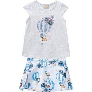 Conjunto Infantil Short Saia + Camiseta Balao Mescla Milon 11692