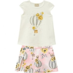Conjunto Infantil Short Saia + Camiseta Balao Off White Milon 11692