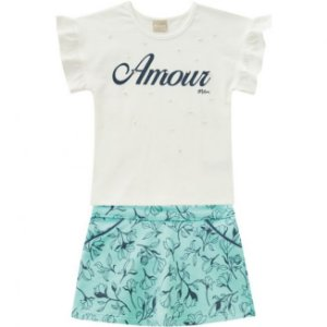 Conjunto Infantil Short Saia + Camiseta Off White Milon 11752