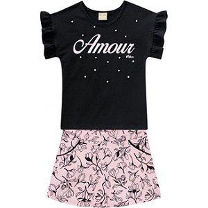 Conjunto Infantil Short Saia + Camiseta Preta Milon 11752
