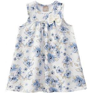 Vestido Infantil Floral Azul Milon 11253