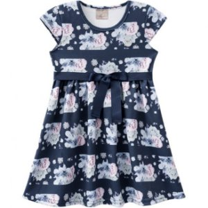Vestido Infantil Floral Azul Milon 11263
