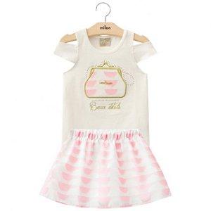 Conjunto Infantil Short Saia Organza Rosa + Blusa Milon 11099